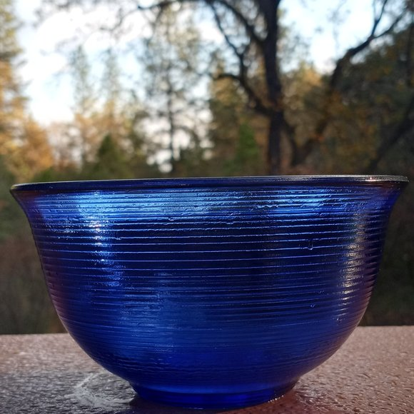 Vintage Small Cobalt Blue Bowl With Lines